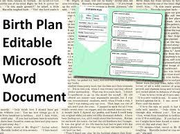 How To Make Your Birth Plan Printable Birth Plan Template Editable By Erincrouchstudio