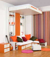 Bedroom:Wall Bed With Brown Bedding From Ikea With Red Headboard Functioned  As Sofa When