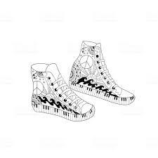 Hippie Hight Sneakers In Decoratieve Stijl Boek Kleurplaat Voor