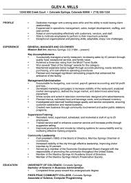 Resume For Manager Position Examples