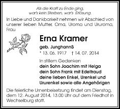 Traueranzeigen von Erna Kramer   FP Gedenken