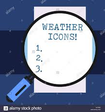 Synoptic Chart Text Sign Showing Weather Icons Business Photo Showcasing