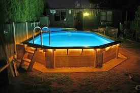 above ground pools with decks. Exellent With Above Ground Pool Deck Coping Nighttime To Above Ground Pools With Decks