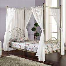 Pewter Bedroom Furniture Walker Edison Metal Twin Pewter Canopy Bed With Curtains Home