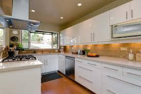 mid century modern kitchen white. Mid Century Modern Kitchen Backsplash White Wooden Cabinet Brushed Nickel Chandelier Standard Eased Edge Profiles Design E
