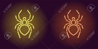 Neon Icon Of Yellow And Orange Spider Illustration Of Neon Spider