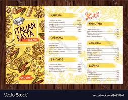 Resturant Menu Template Italian Pasta Restaurant Menu Template Royalty Free Vector