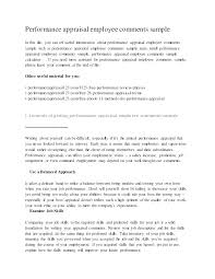 Employee Comments On Performance Evaluation Church Employee Performance Evaluation Form Writing A For