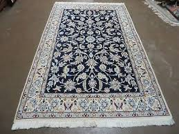 4 x 7 vintage hand made fine persian nain wool silk high lights rug