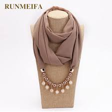 runmeifa jewelry pendants necklaces scarf solid chiffon hijab beads jewelry circular pendant scarf women decorative neckerchief