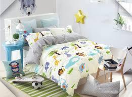 com cliab kids forest animal print bedding twin size lion elephant giraffe duvet cover set 100 cotton 5 pieces home kitchen