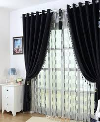 2019 Thick Black And White Chenille Curtains Upscale Modern Bedroom ...