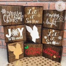Christmas Signs Christmas Wood Block Set Christmas Sign Christmas Decor