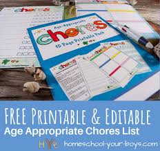 Printable Lists And Charts Free Printable Editable Age Appropriate Chores List