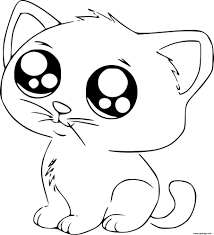 Coloriage Dessin Chat Kawaii Cute Dessin Tout Chat A Colorier Nora