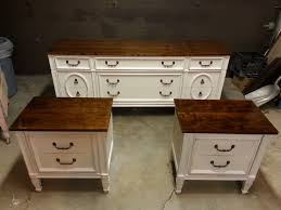 Vintage Bassett Dresser and Night Stand Set. Painted Antique white and  Lightly distressed then a