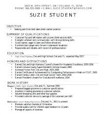 Sample Resume For Students In High School Student Resume Students