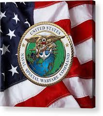 Naval Special Warfare Command N S W C Emblem Over U S Flag Acrylic Print