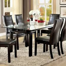 glass top tables and chairs. Furniture Of America Serafin Contemporary Glass Top Dark Walnut Dining Table Tables And Chairs