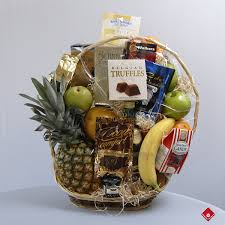 orted gourmet treats in a gourmet fruit gift basket