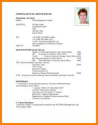 Examples Of Cv In English Sample Cv Resume Template Via Format