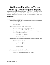 writing an equation in vertex form