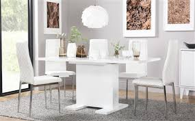 osaka white high gloss extending dining table with 4 renzo white chairs chrome legs 50 off