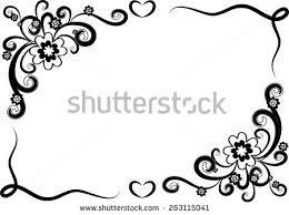 Border Black And White Vector Design Flowers Border Black White Stock Photo Photo Vector