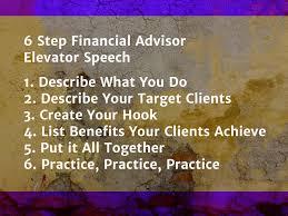 Elavator Speech Financial Advisor Elevator Speech Samples Examples And More