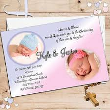 Twin Baptism Invitations 10 Personalised Twins Joint Boy Girl Christening Baptism Party