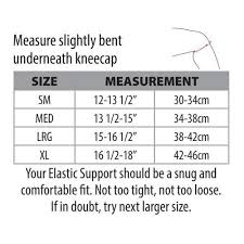 Knee Brace Size Chart Core Products Swede O Elastic Knee Support