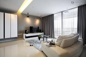 modern grey large windows in living room