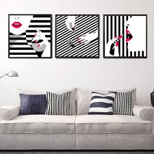 black white stripe girls wall decor painting red lips beauty makeup canvas art print poster  on wall art red lips with black white stripe girls wall decor painting red lips beauty makeup