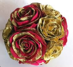 gold royal red crepe paper flowers ball wedding decor birthday baby shower table flower pomander kissing ball centerpiece christmas