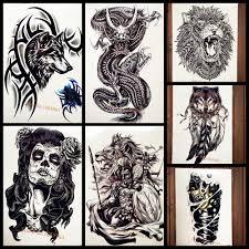 черный Brambles волк с браслетом временная татуировка наклейка для