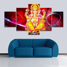 hd print canvas unframed painting 5 panel ganesha for living room indian home decor modular