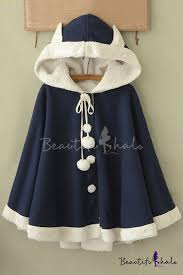 <b>Women's</b> Single Breasted <b>Cute Rabbit</b> Hooded Asymmetrical Hem ...