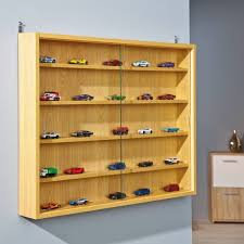 display cabinet wall mount doors unit collectibles models 5 shelves glass beechw