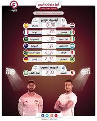 مواعيد مباريات اليوم الخميس 22 يوليو 2021 والقنوات الناقلة