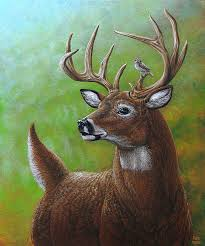 deer painting deer and sparrow by cara bevan
