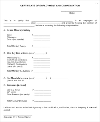 Certificate Of Employment With Compensation Template Missdl