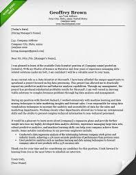 Data Analytics Cover Letter Data Scientist Cover Letter For Internship Yolar Cinetonic Co