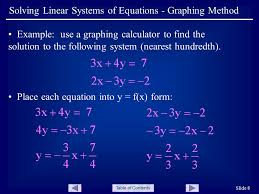 table of contents slide 8 solving linear systems of equations graphing method example use