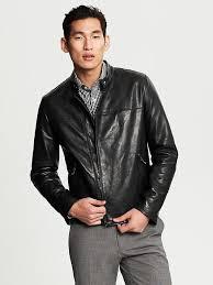 banana republic black leather moto jacket black