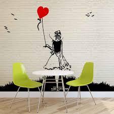 brick wall heart balloon girl graffiti