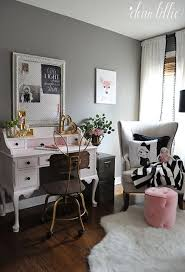 this sweet little vintage style pink desk and bunny ear chair add a whimsical touch to this pink black and gray girls room and fun accessories from black antique style bedroom