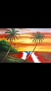 paisaje bandera de puerto rico en el agua puerto rico oil painting
