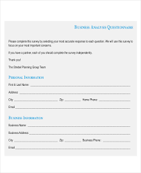 Questionnaire Questions For A Business Free 30 Questionnaire Examples In Pdf Google Docs Word
