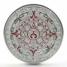 <b>1x</b> Gold Sliver Plated <b>Mayan Aztec</b> Prophecy <b>Calendar</b> ...