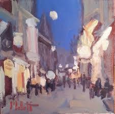 city lights saay night original oil painting